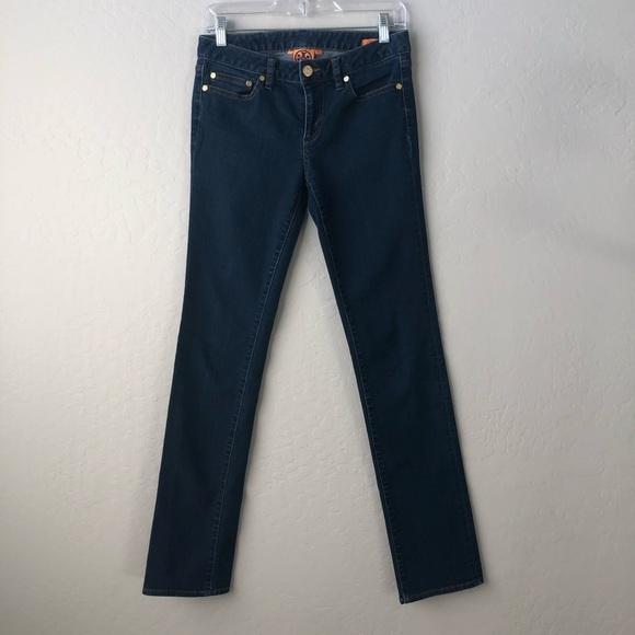 Tory Burch Denim - Tory Burch Straight Leg Dark Wash Gold Logo Jeans